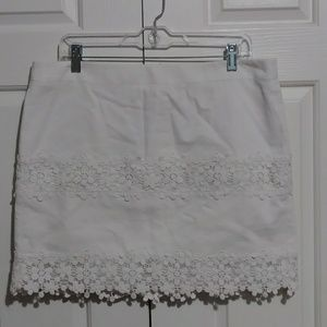 J. Crew Mini Skirt with Lace Trim - Winter White